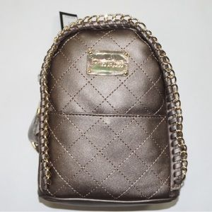 Bebe Julia pewter quilted mini backpack